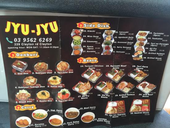 Menu Picture Of Jyu Jyu Japanese Take Away Clayton Tripadvisor
