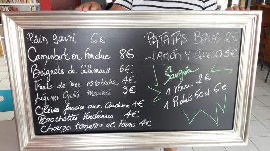 L'Aiguillon-sur-Vie, Francia: bar menu tapas été 2015