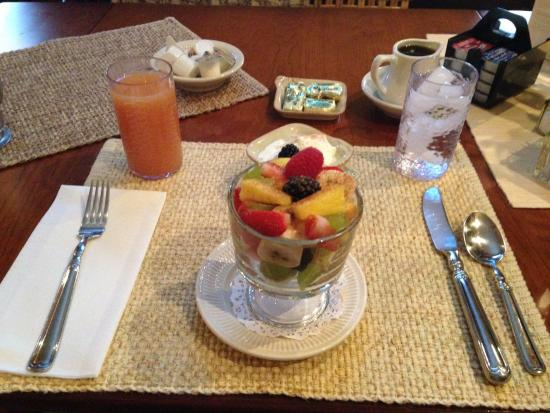 Stone House Inn & Spa: Fresh fruit, low-fat yogurt and grapefruit juice