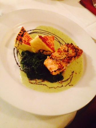 Monticello, WI: Pistachio crusted salmon
