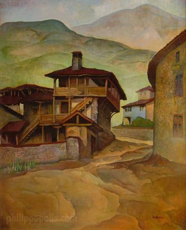 "Art Gallery Philippopolis: ""Houses"" by Vladimir Rilski, oil on canvas"
