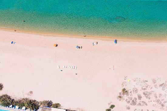 An aerial photo of Mikri Vigla beach on Naxos.