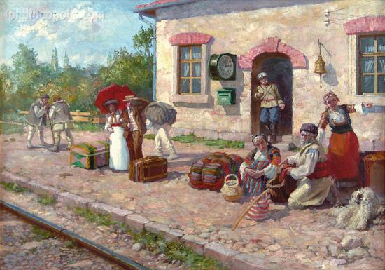 "Art Gallery Philippopolis: ""Old Railway station"" by Michail Lyutov, oil on canvas"