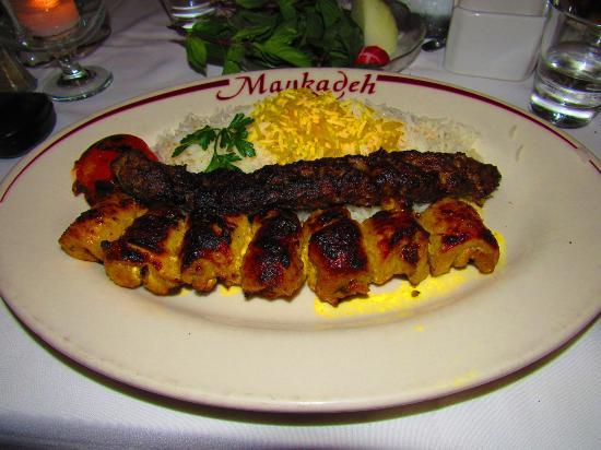 Maykadeh : Chicken joojeh and beef/lamb kebab