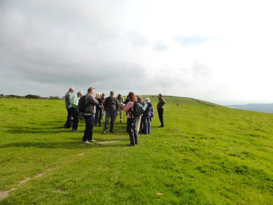Fuzzacker Guided Walks and Tours: Up on Nine Barrow Down, having our morning break