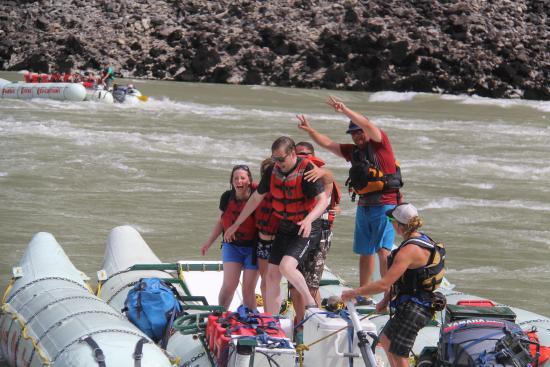 Fraser River Rafting: Shenanigans at 'Sailor Bar' Rapid on the Fraser river.