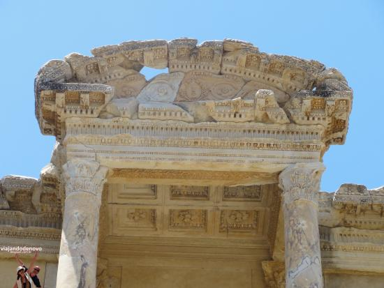 Tight shot of library facade. - Picture of Celsus ...