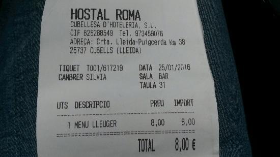 Cubells, Tây Ban Nha: Hostal Restaurant Roma