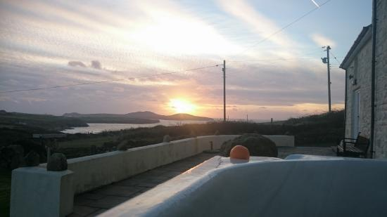 St. Davids, UK: sunset in the hot tub