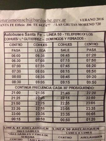 Cascada de los Duendes: Horario linea 50 a los coihues (para llegar a la cascada). Costo 8$. Enero 2016.