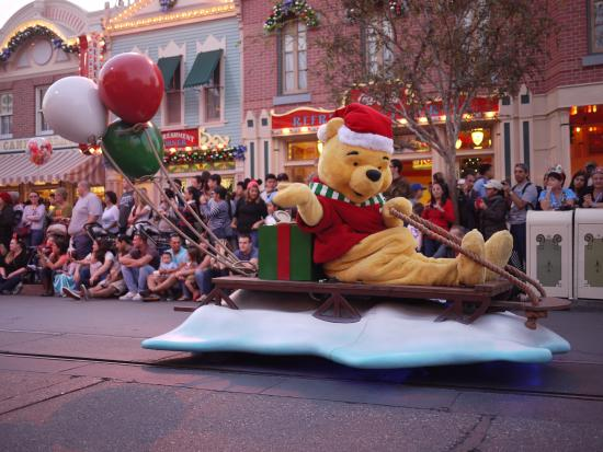 disneyland park winnie the pooh in the christmas parade