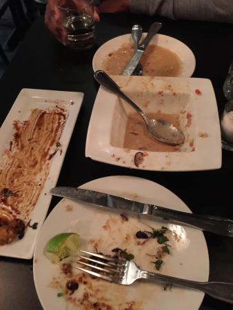 La Quinta, Kalifornia: The Butter Poached Lobster shooter, Thai Shrimp Cakes, Creamy Asparagus and Artichoke soup, Zucc