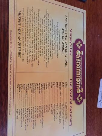 Shenannigans Restaurant & Bar: Menu and place mat with Irish facts and dictionary