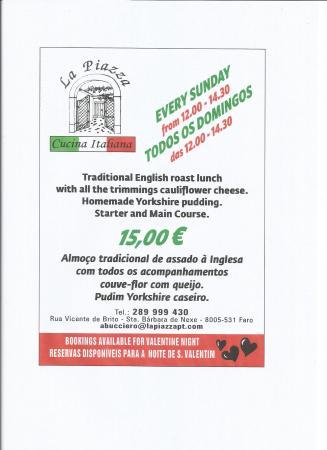 Santa Barbara de Nexe, Portugal: open for sunday lunch till the end of april