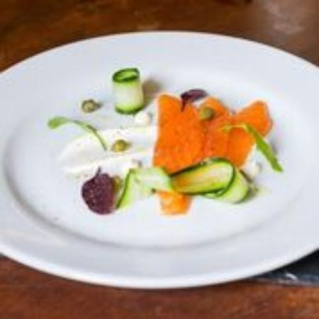 Rattery, UK: in house Plymouth Gin Cured salmon