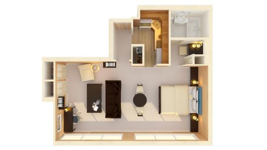 Beau Sutton Court Hotel Residences: Studio Apartment Floor Plan