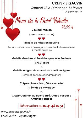 menu st valentin photo de cr perie gauvin angers. Black Bedroom Furniture Sets. Home Design Ideas