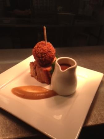 Black Lion Restaurant: Local belly pork, black pudding bon bon, apple puree