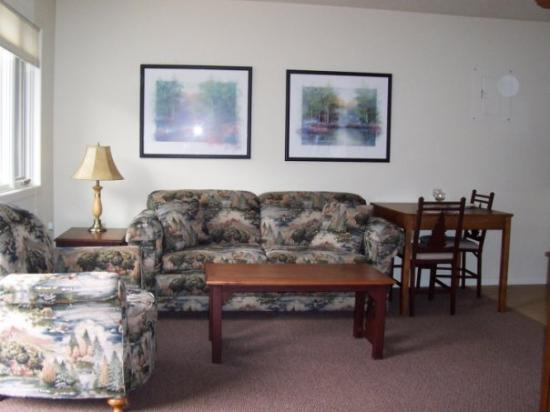 Spooner, WI: Sitting area, couch pulls out!