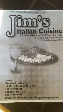 Bellefonte, PA: Jim's Italian Cusine
