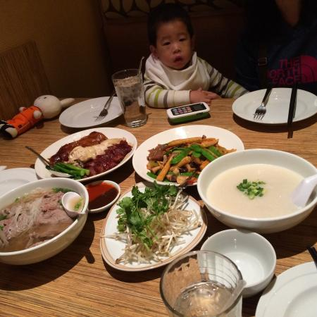 Noodle Shop: As a family of four including 2 small kids, we ordered a marinated meat platter (not shown), pho