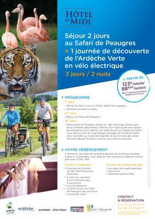 Hôtel du Midi : Séjour Safari Peaugres + vélo éléctrique
