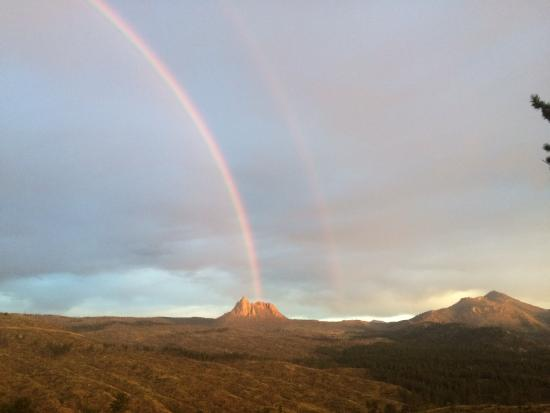 Woodland Park, CO: Double Rainbow over Sheep's Nose & Thunder-butte