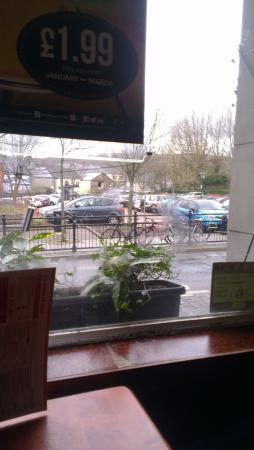 Aberdare, UK: Photos showing outside of building,Car Park across the road and inside dining areas.