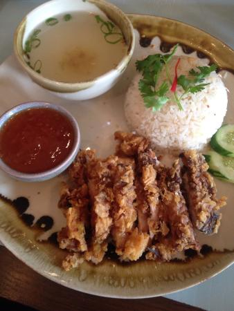 Greater Newcastle, Australia: Crispy chicken with ginger rice, sweet chili sauce and clear soup.