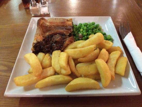 Steak & Ale pie, chips and pies. - Picture of Wood Farm ...