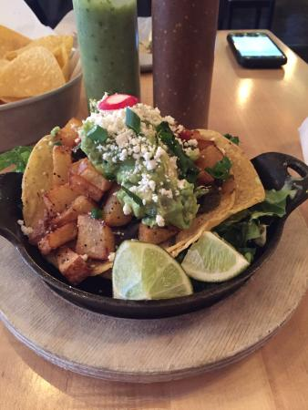 Vegetarian tostada that is delicious! - Picture of