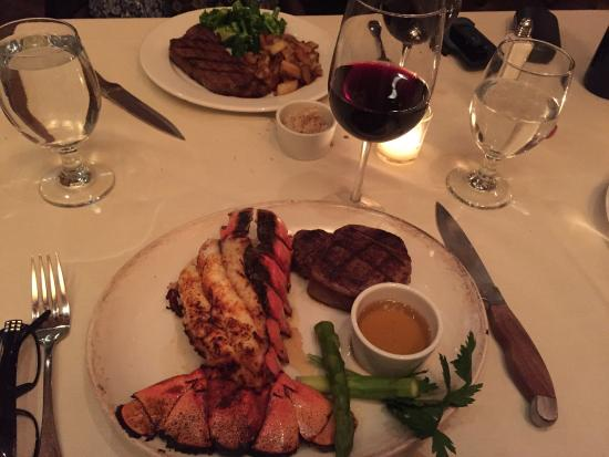 Ridgefield, CT: Grilled lobster tail and filet mignon