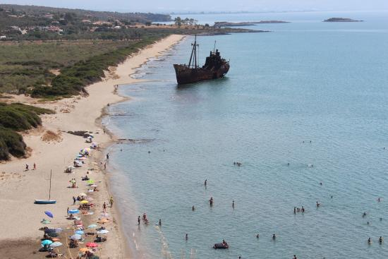 Gytheio, Greece: The shipwreck and the beach