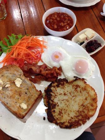 The Garden: Fruit muesli and hash browns poached eggs bacon baked beans and toast