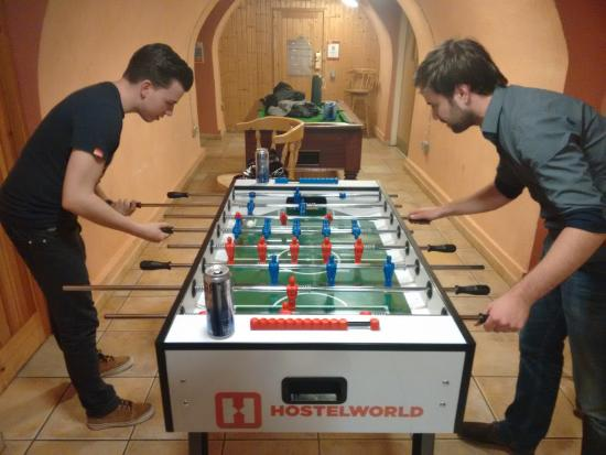 playing table football in the basement chill out room picture of rh tripadvisor com
