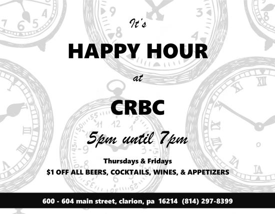 Clarion, Пенсильвания: Starting February 4!  Happy Hour Thursdays & Fridays from 5-7