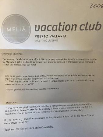 Meliá Vacation Club Puerto Vallarta: This is evidence of them fumigating our room with all our things in it (not moving us) and why w