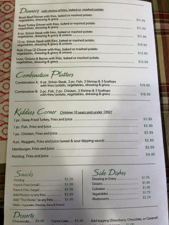 Harbour Grace, Canada: Menu