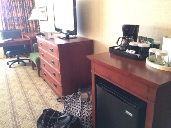 Blacksburg, VA: Sink inside and outside of bathroom, small frig and coffee maker, view of fox in field outside t
