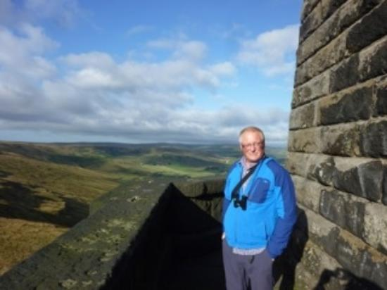 Todmorden, UK: David Lepper  taking in the  balcony view  at Stoodley Pike