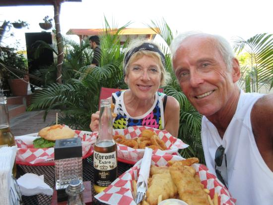 Godzilla's Monster Burgers : The best Fish and Chip in Manzanillo