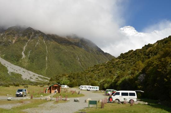 Aoraki Mount Cook National Park (Te Wahipounamu), Nova Zelândia: Basic maar mooi verzorgde camping aan de voet van het gebergte.