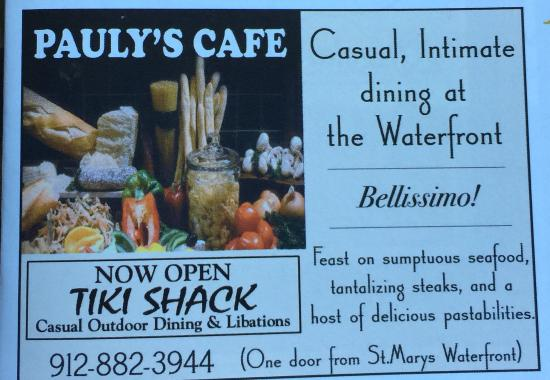 St. Marys, GA: Pauly's Cafe & TikiShak has a new addition: Pauly's Flying Pig has Spiedies, Sausage Burgers, Sa