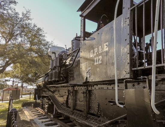 Texas City, TX: Noble Park, locomotive OP&E #112, 2