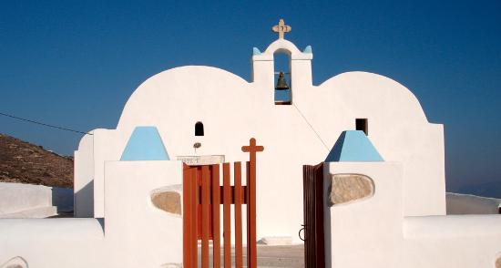 Donousa, Greece: The church Panagia-Ai Giannis in Stavros, is an uncommon architectural combination of two basili