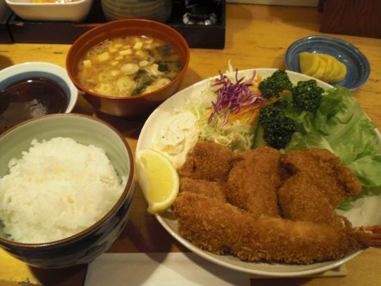 Masakatsu: ミックスC¥1,400 Deep fried pork fillet cut let and prawn set with miso soup and steamed rice for $11
