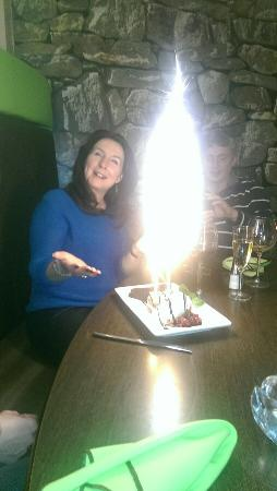 Lymm, UK: Now that's a candle ! Fab birthday dinner amazing service wonderful atmosphere food was top clas