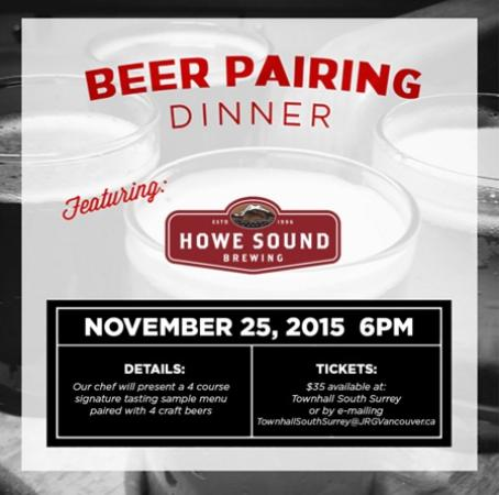Townhall South Surrey & Howe Sound Brewing Present A 4 Course Pairing Dinner November 25th