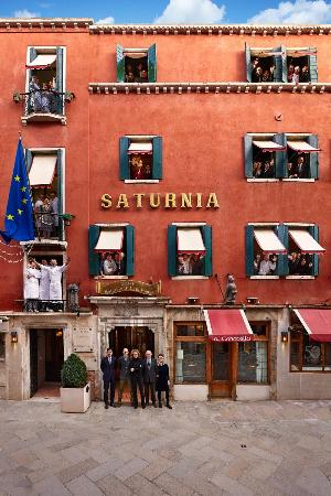 Hotel Saturnia & International: The hotel facade with our staff