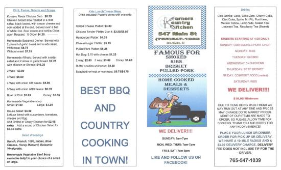 Brookville, IN: Menu